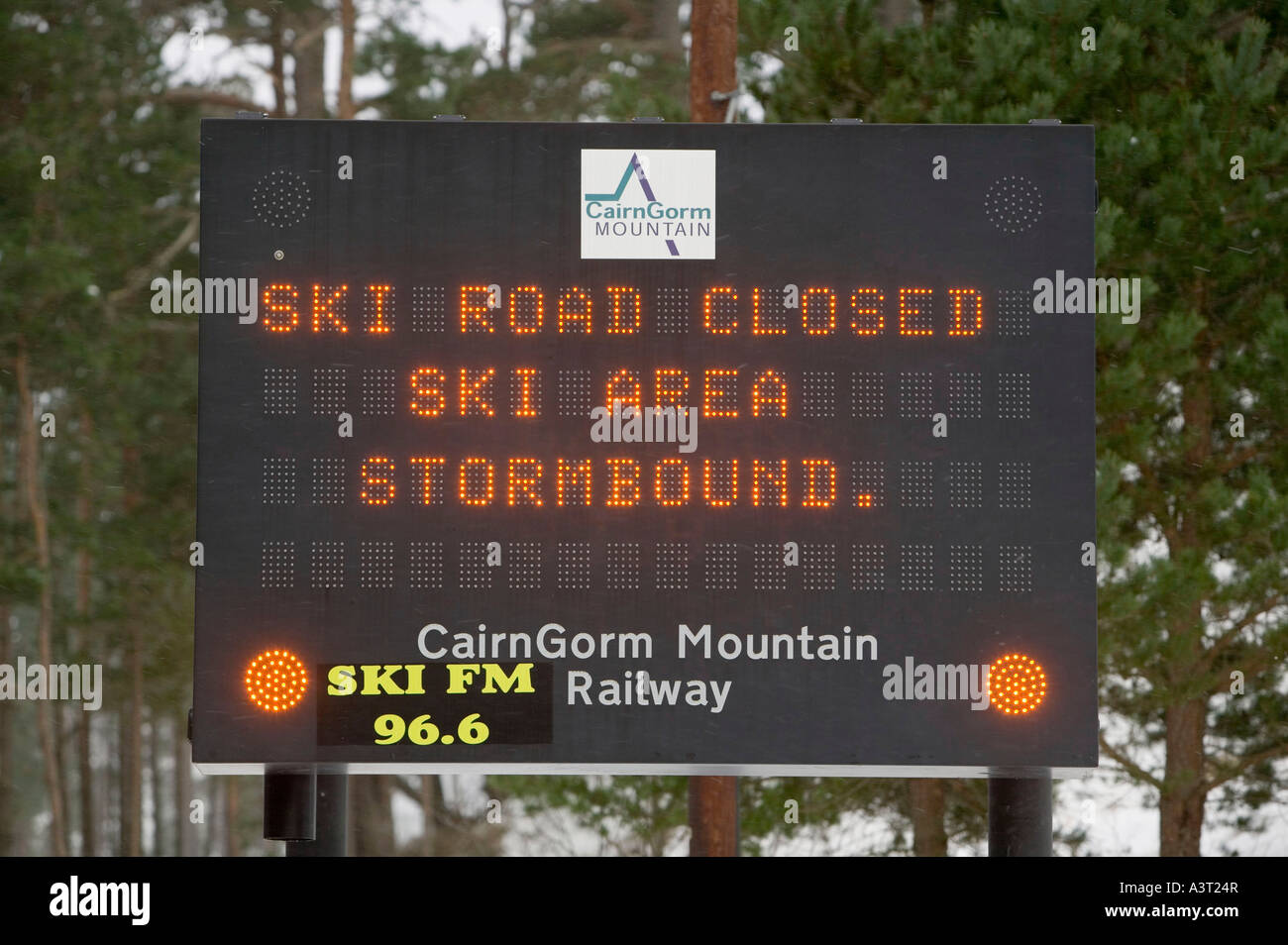 ski resort closed due to  severe storm conditions on the Cairngorms, Scotland, UK Stock Photo