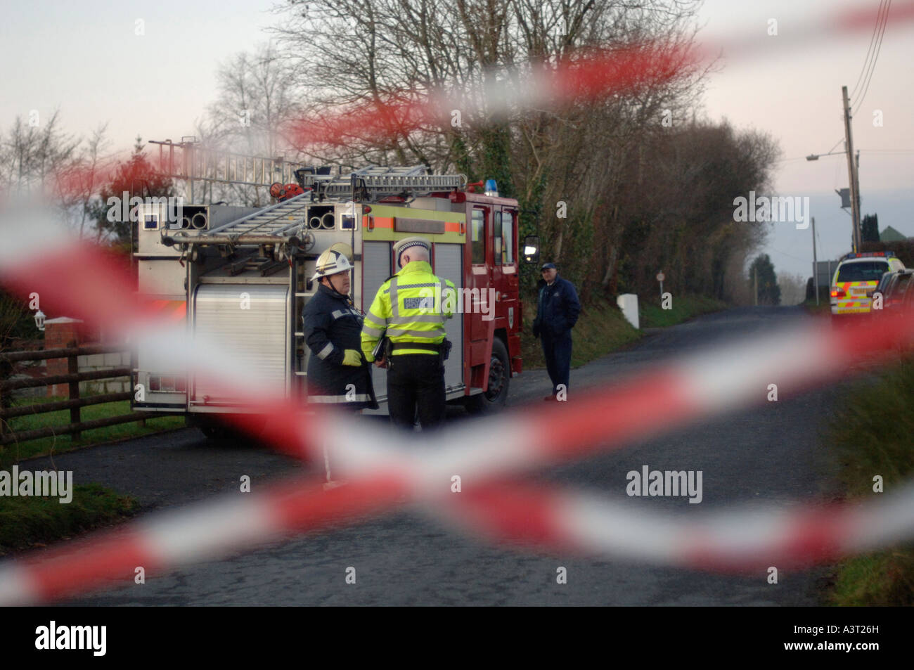 LLangeitho Ceredigion west Wales police and fire service armed siege at farmhouse after planning dispute over a - Stock Image
