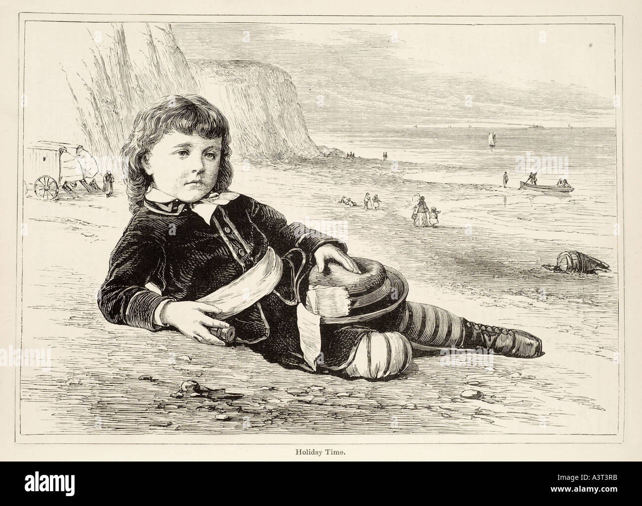 holiday time Young boy male vaction break beach sand shore sea side seaside south coast cliff travel pose curly hair pretty pron - Stock Image