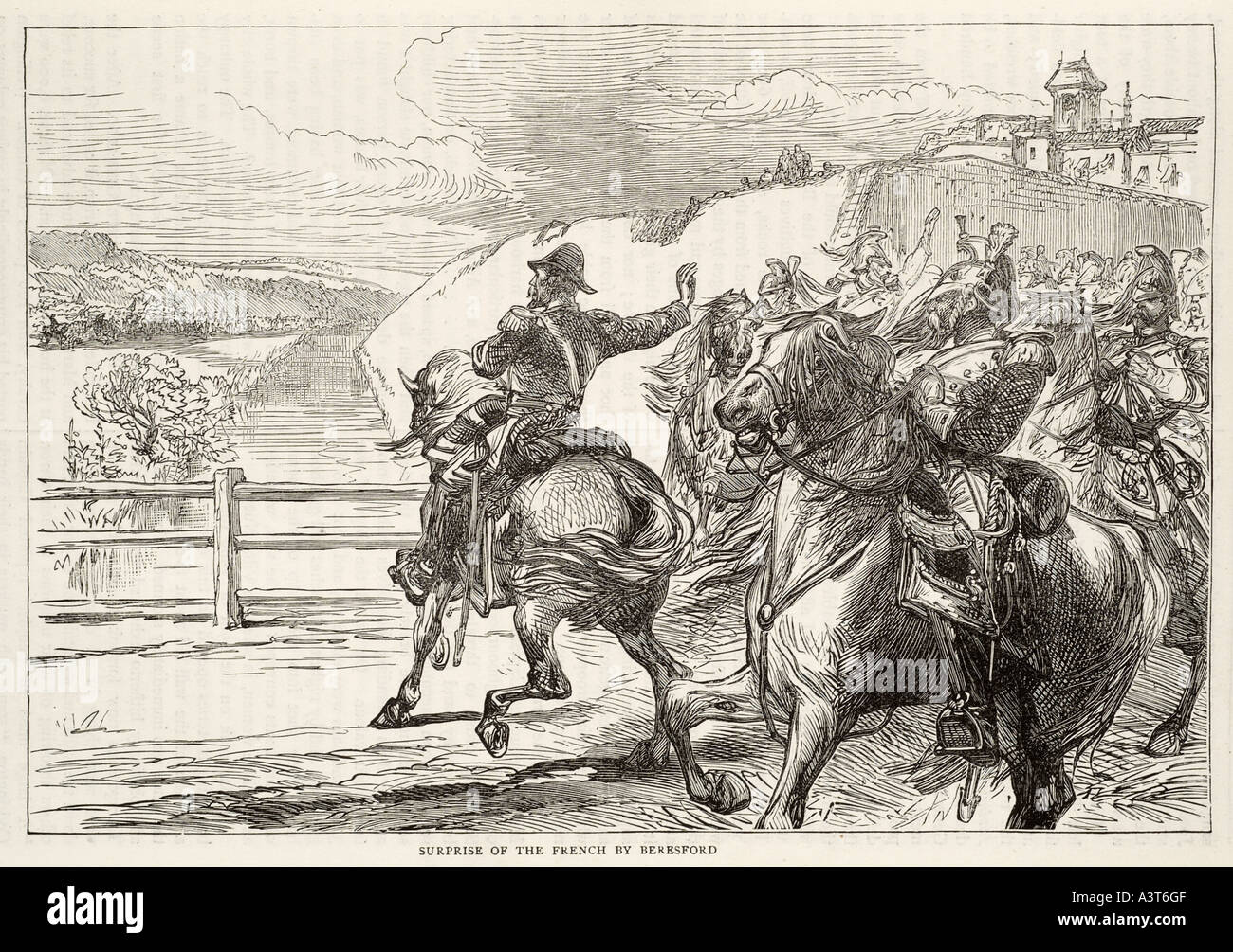 surprise french beresford horse cavalry war soldier conflict peninsular Spain France Britain lance lancer saddle charge road unp - Stock Image