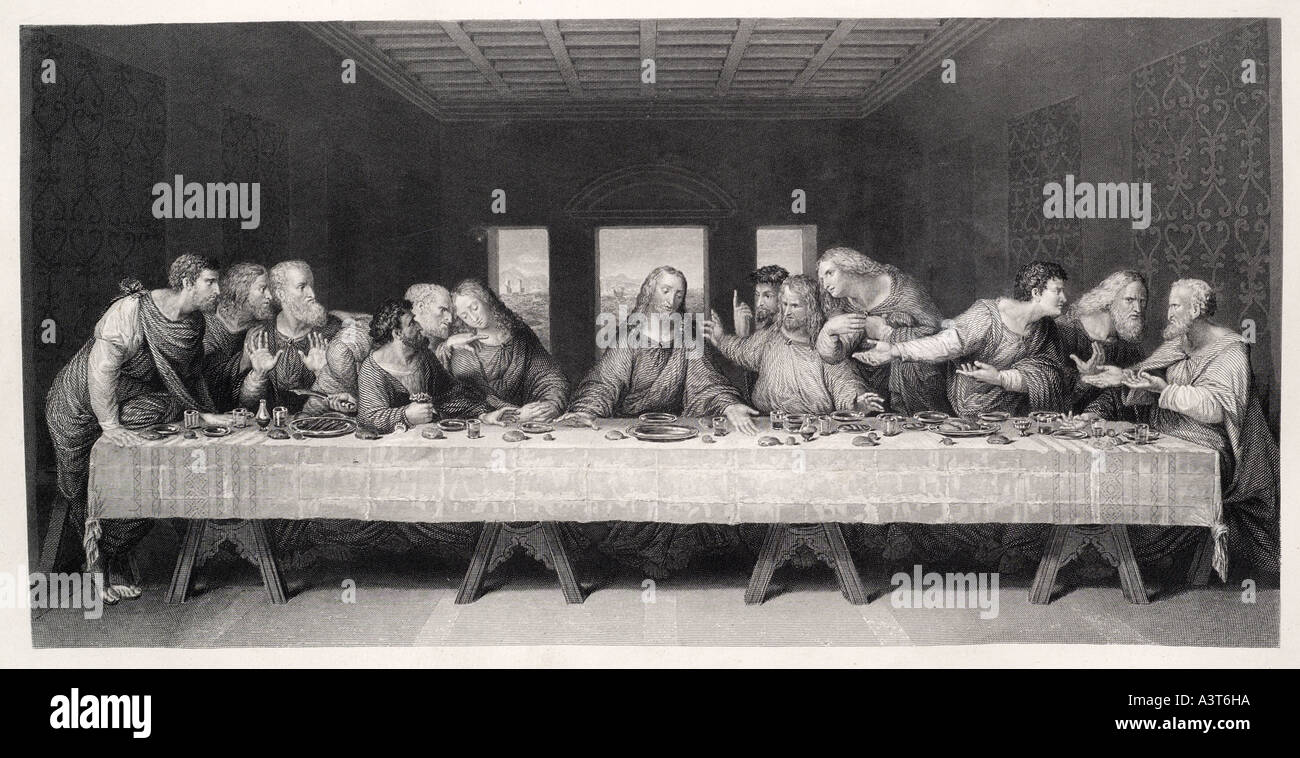 Last Supper Disciple Jesus Nazareth Bible Christian Christ Stock