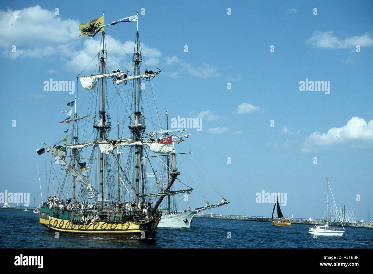 old sailingship, Germany, Mecklenburg-Western Pomerania, Warnemuende - Stock Image
