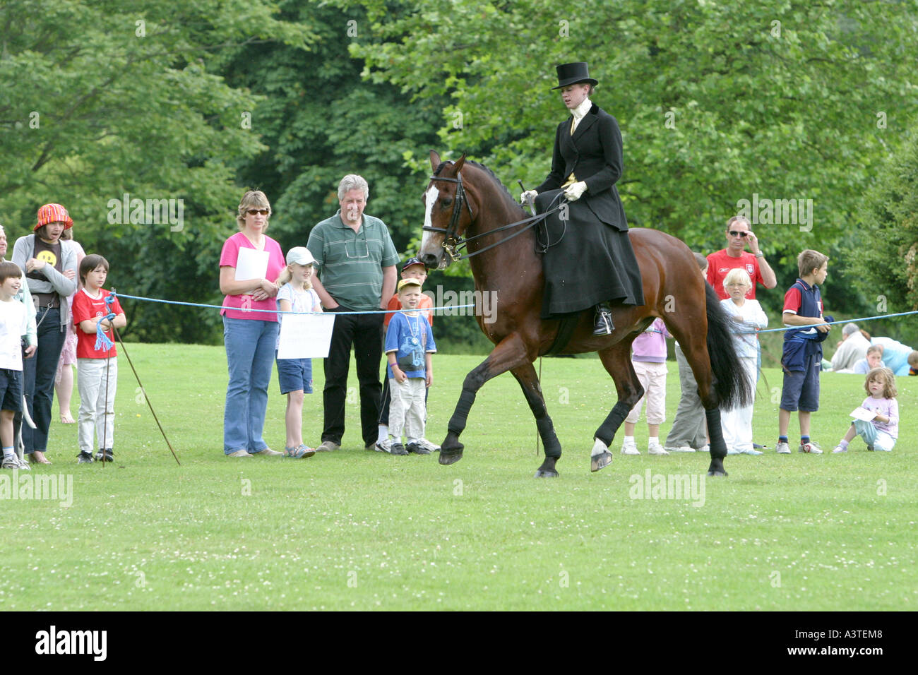 Dressage display by female rider wearing black dress and riding side saddle - Stock Image
