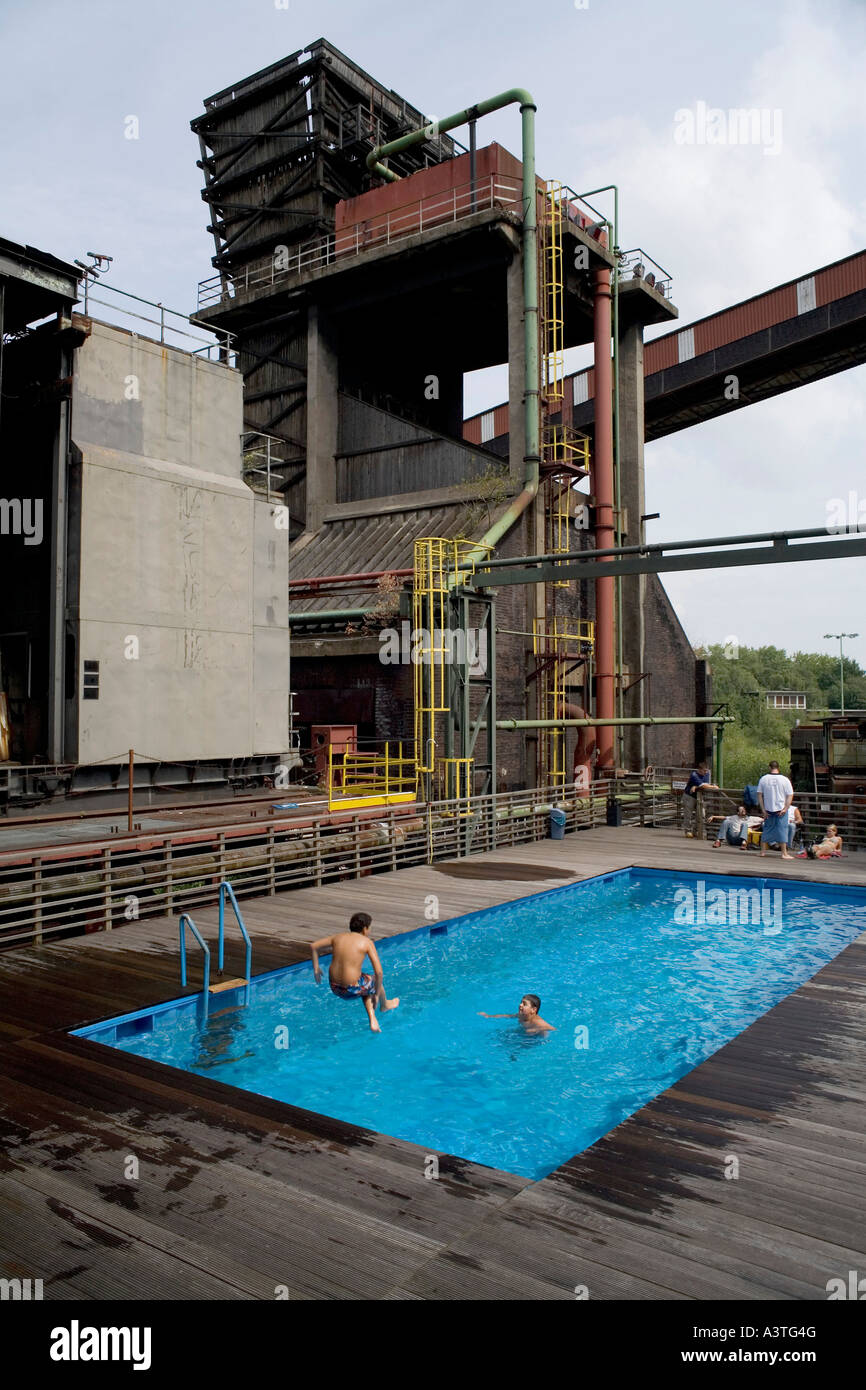 Swimming pool in the disused coking plant Zollverein, Nord Rhine-Westphalia, Essen, Germany - Stock Image