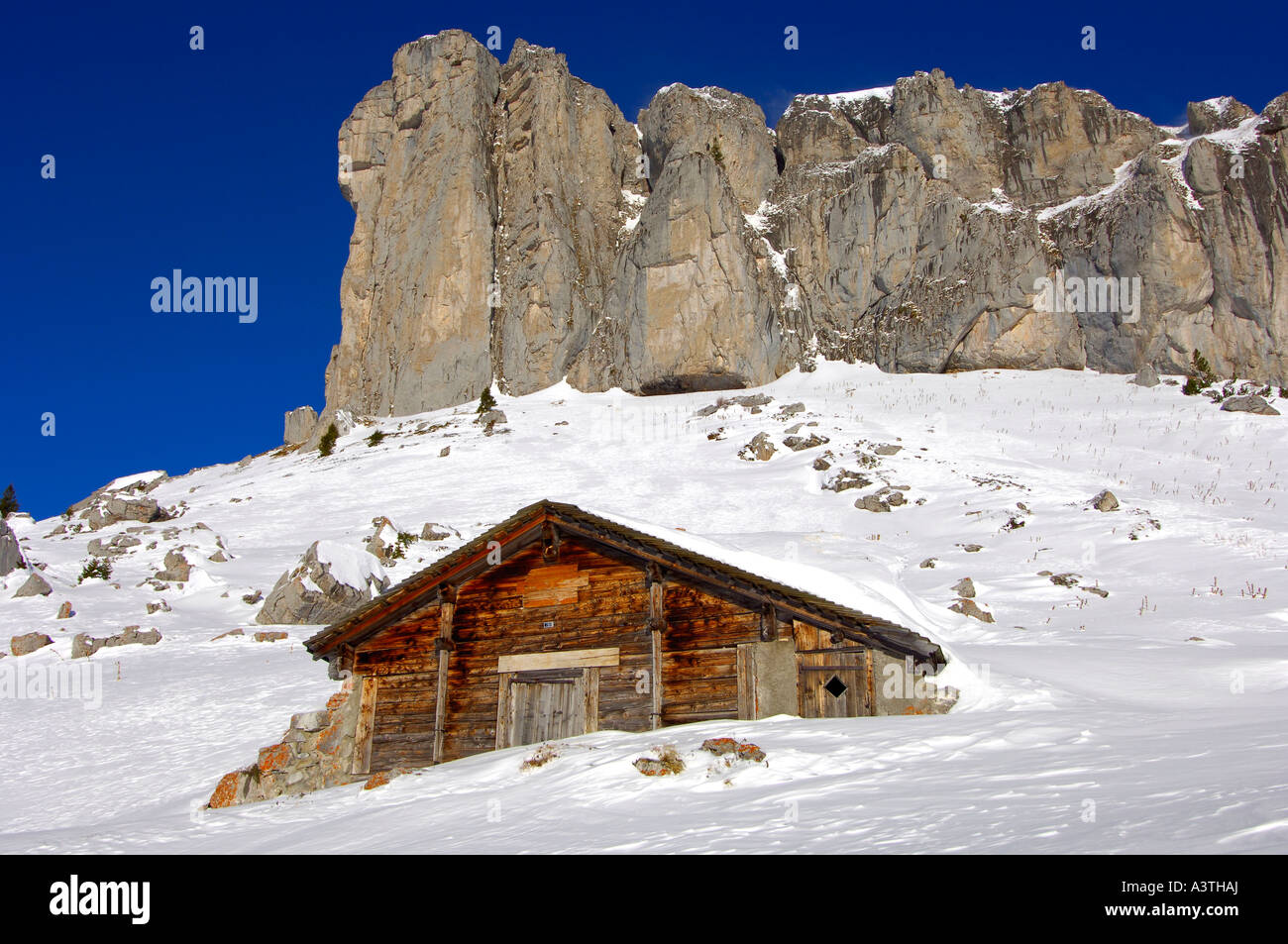 Winter time at peak Tour d'Ai, Swiss alps, Switzerland - Stock Image