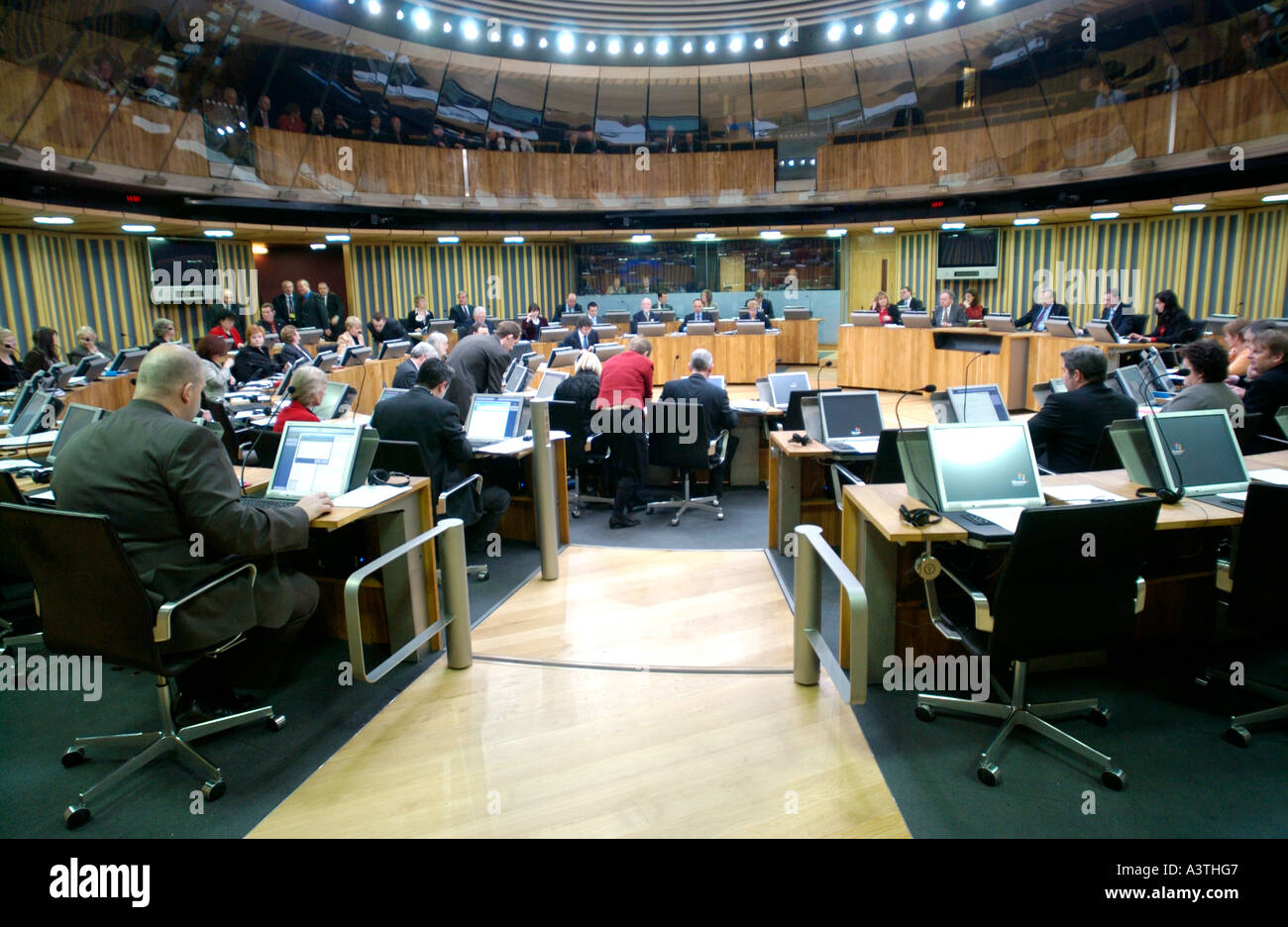 Senedd Welsh Assembly Debating Chamber Ams Sit In Front Of Their