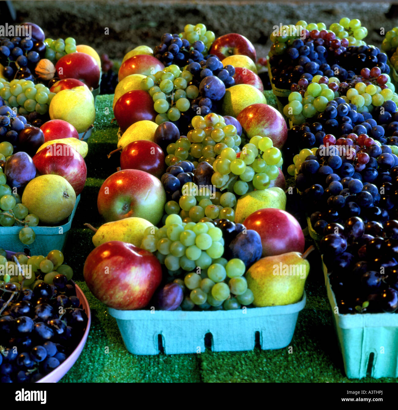 Locally Grown Fruit At Farm Stand, Town Of North East, Pennsylvania, - Stock Image