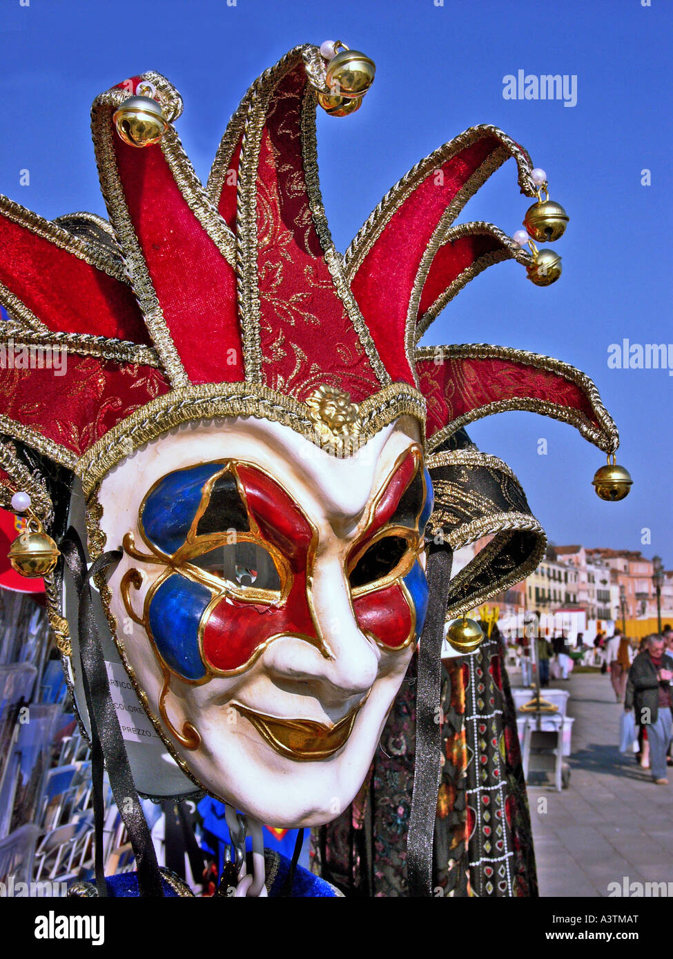 Venetian mask in close up for sale on the quayside in Venice Italy Europe EU - Stock Image