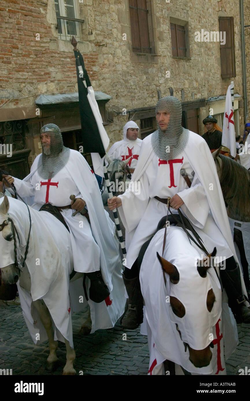 Knights Templar in Medieval Festival on 14 July in Cordes sur Ciel Tarn France - Stock Image