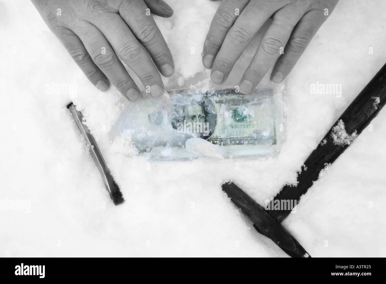 Twenty Dollar Bill US Dollars in Ice Frozen Assets money concept - Stock Image