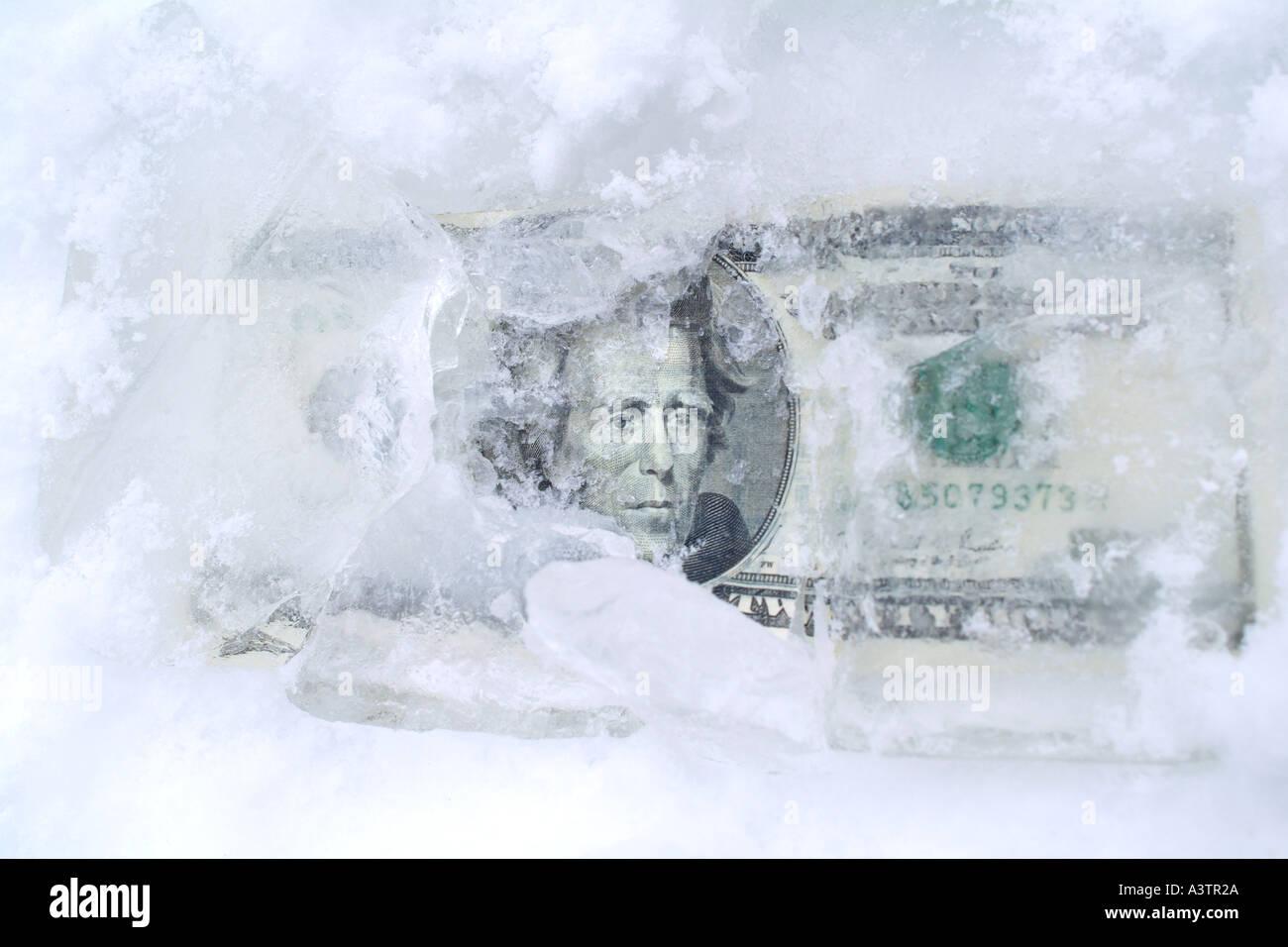 Twenty Dollar Bill US Dollars in Ice Frozen Assets - Stock Image