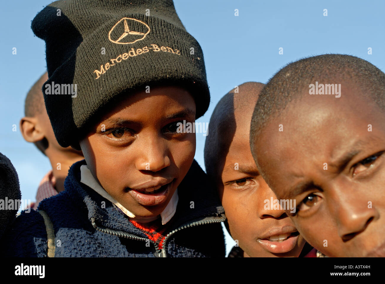 Kenyan boys with Mercedes Benz hat in Nyahururu Kenya Stock Photo ... c2d0a0779a6