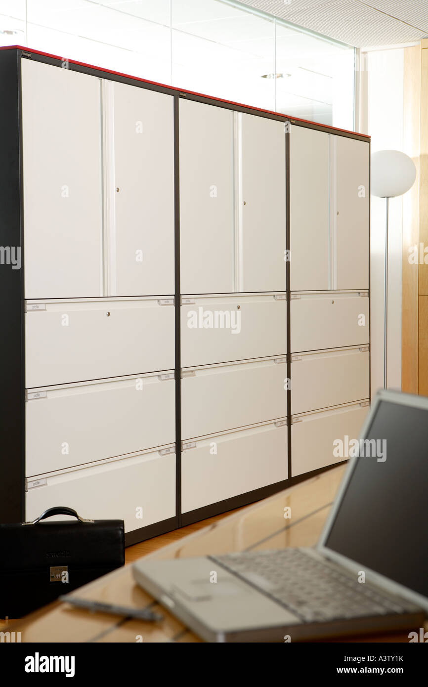 Modern Office Interior Empty Large Filing Cabinet And