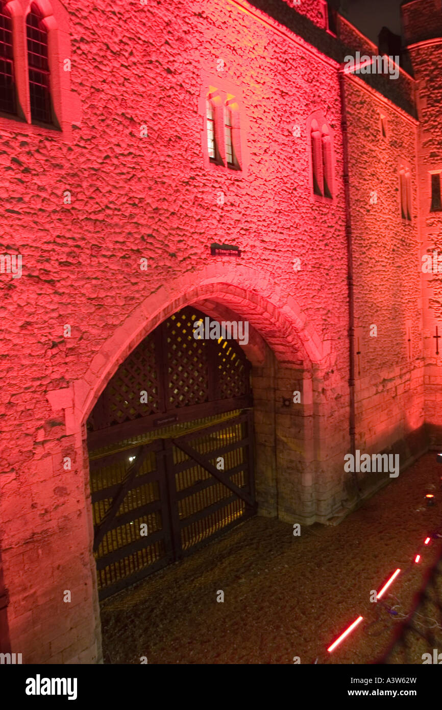 Traitors Gate, Tower of London illuminated for Switched On London - Stock Image