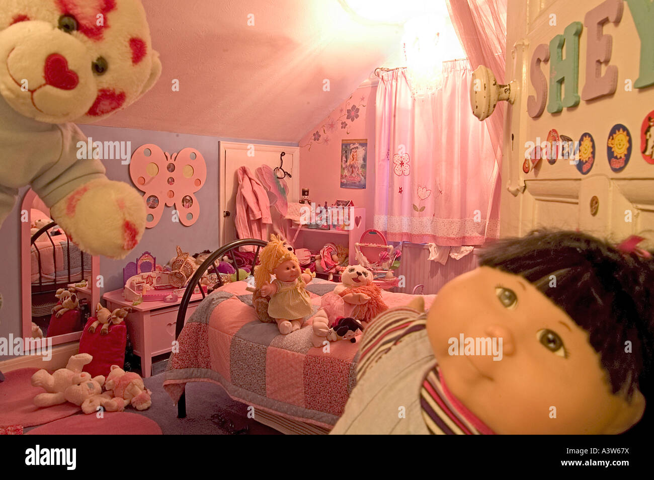 Girls Bedroom With Toys Stock Photo Alamy