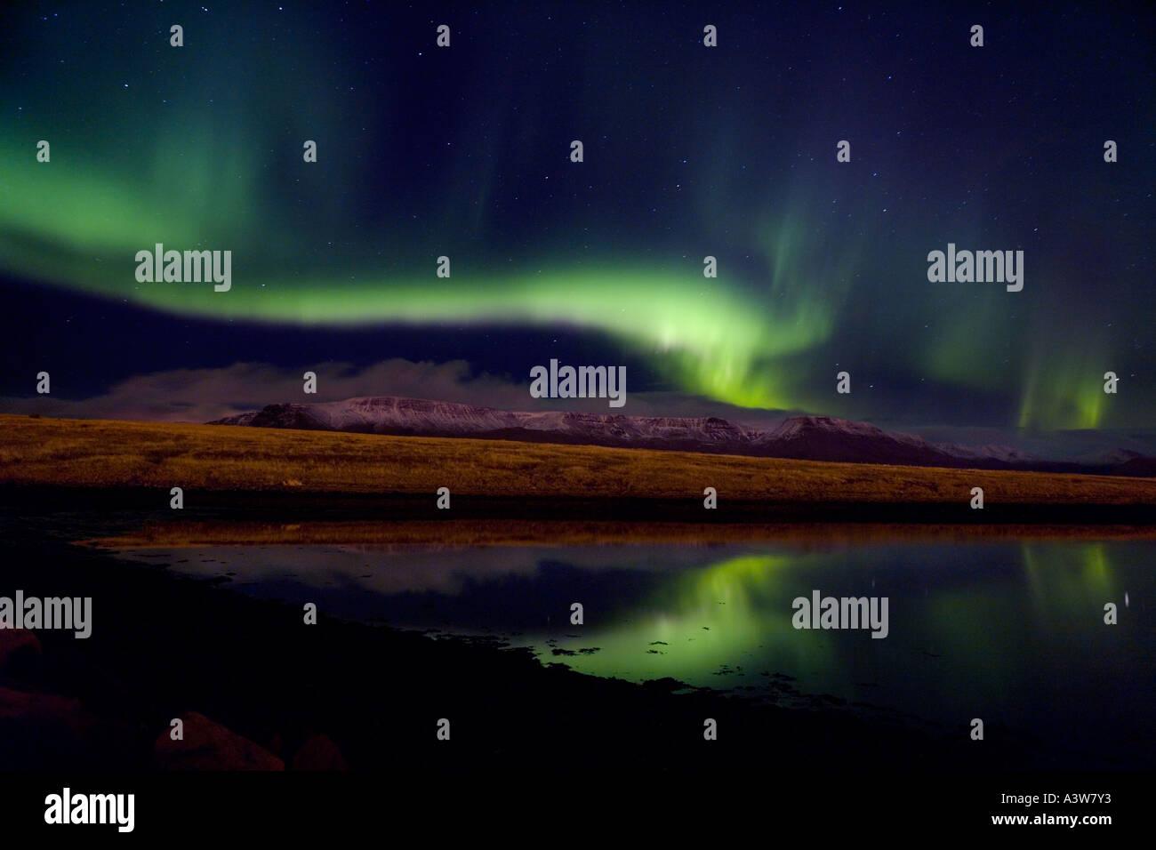 Aurora Borealis, Northern Lights, Iceland, Mt Esja, Iceland Stock Photo