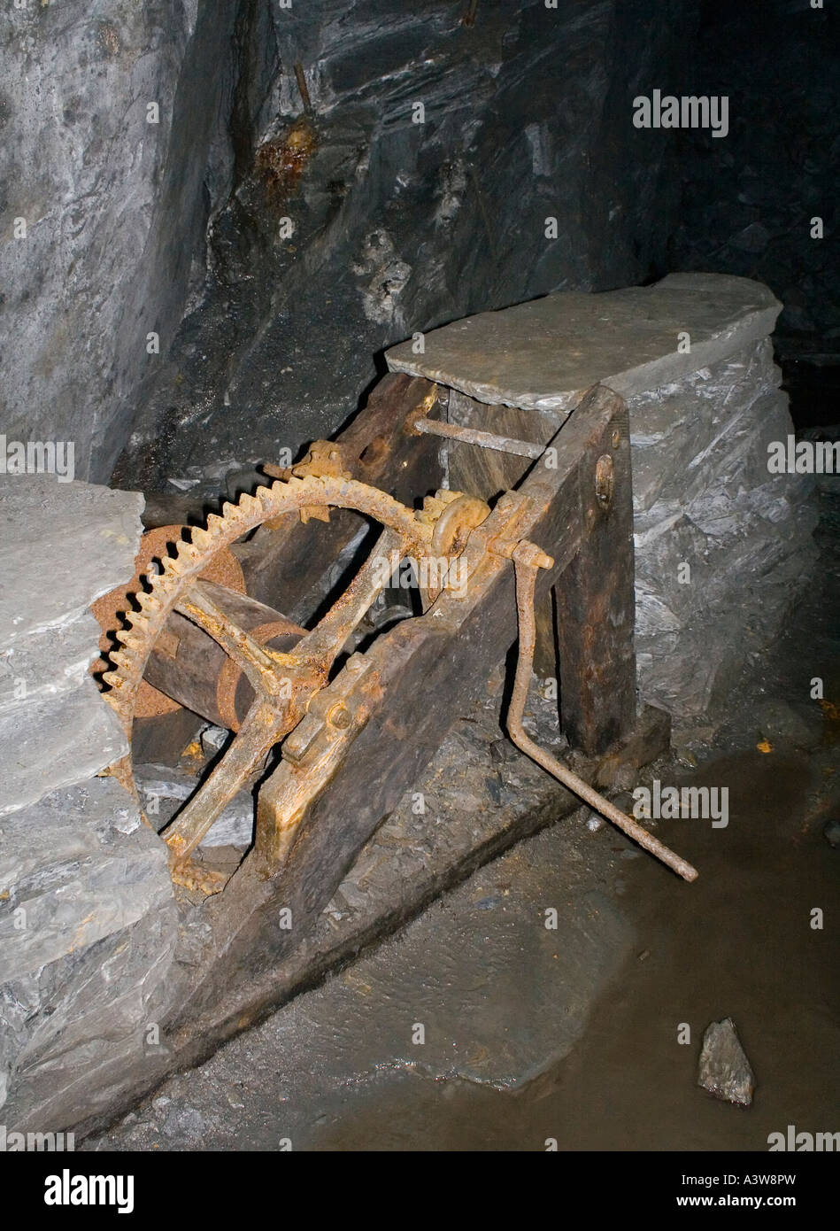 Remains of a winch at the top of the railed incline Penarth slate mine North Wales UK - Stock Image