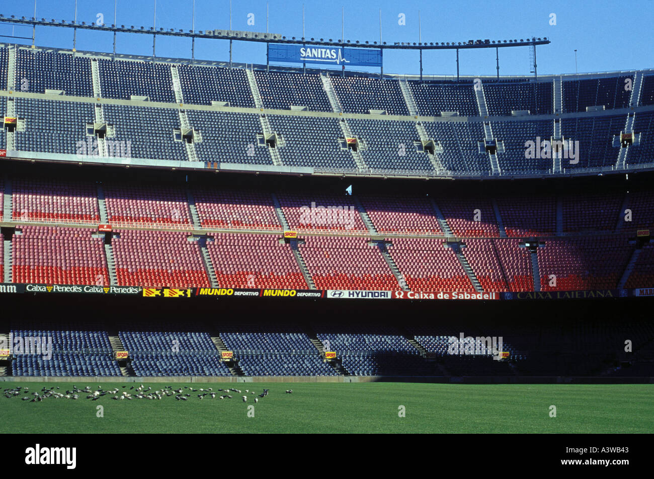 Interior view of the Nou Camp Stadium, home of Barcelona FC. - Stock Image