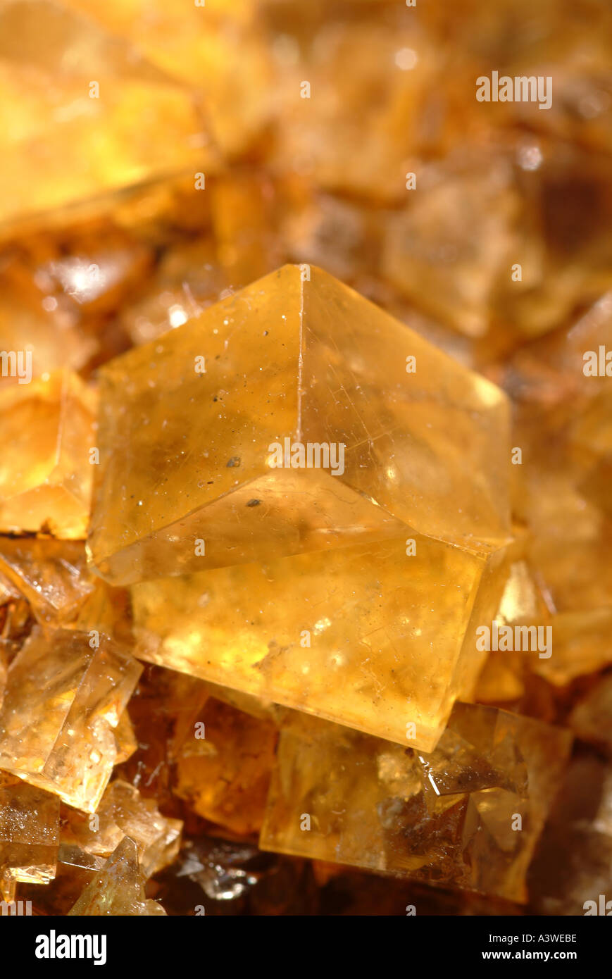 Mineral Fluorite, Bright transparent crystals showing twinning, Hilton mine, Scordale, Cumbria, England - Stock Image