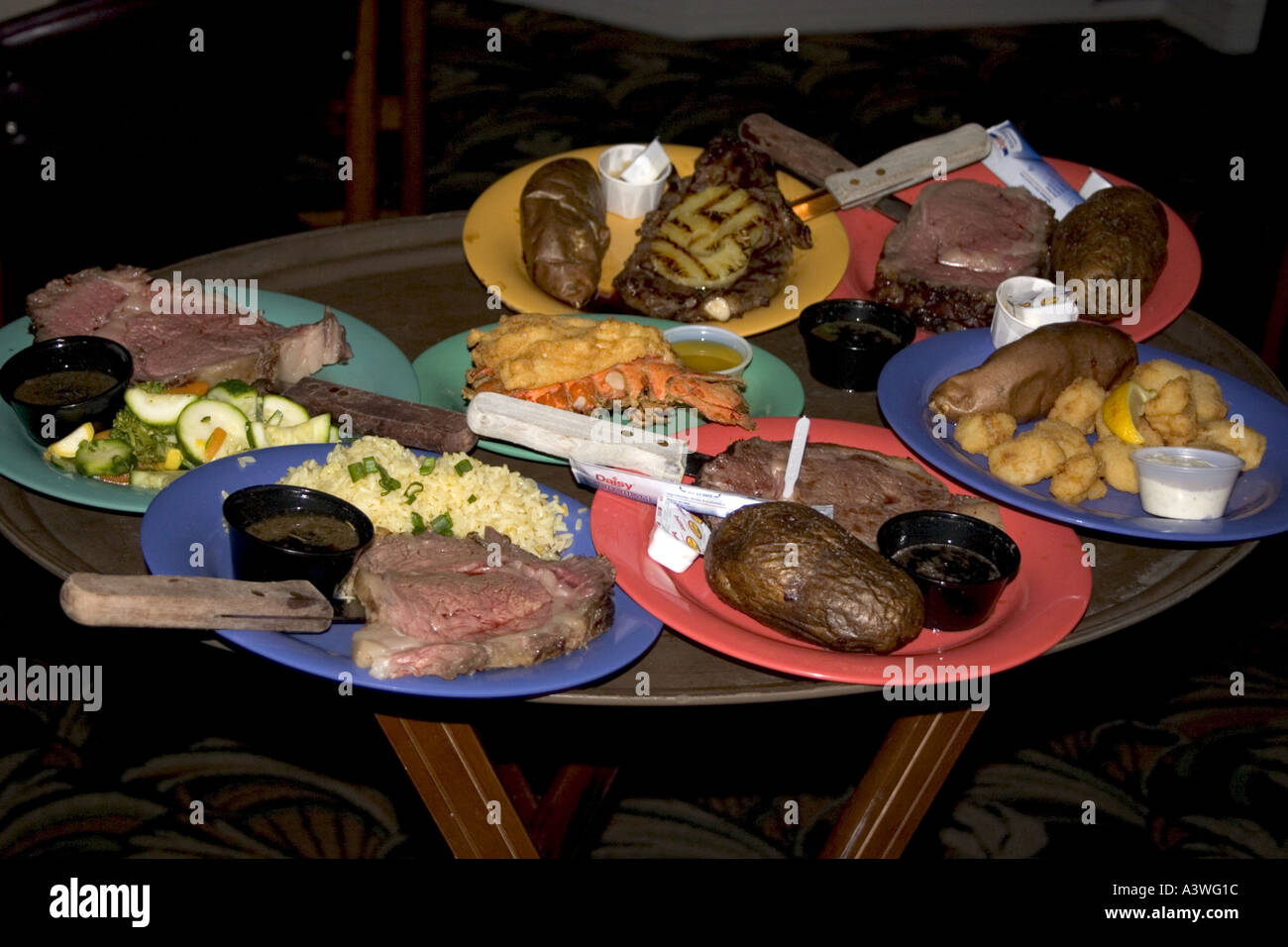 Fine dining dinner plates to be served at Brewmaster Steak House. Indian Rocks Beach Florida USA & Fine dining dinner plates to be served at Brewmaster Steak House ...