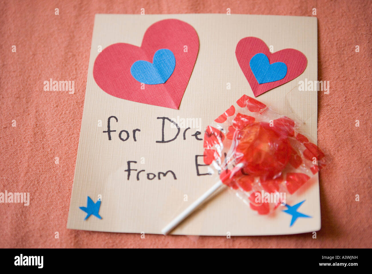 Hand Made Valentine Card By Elementary Age Student With Lollipop