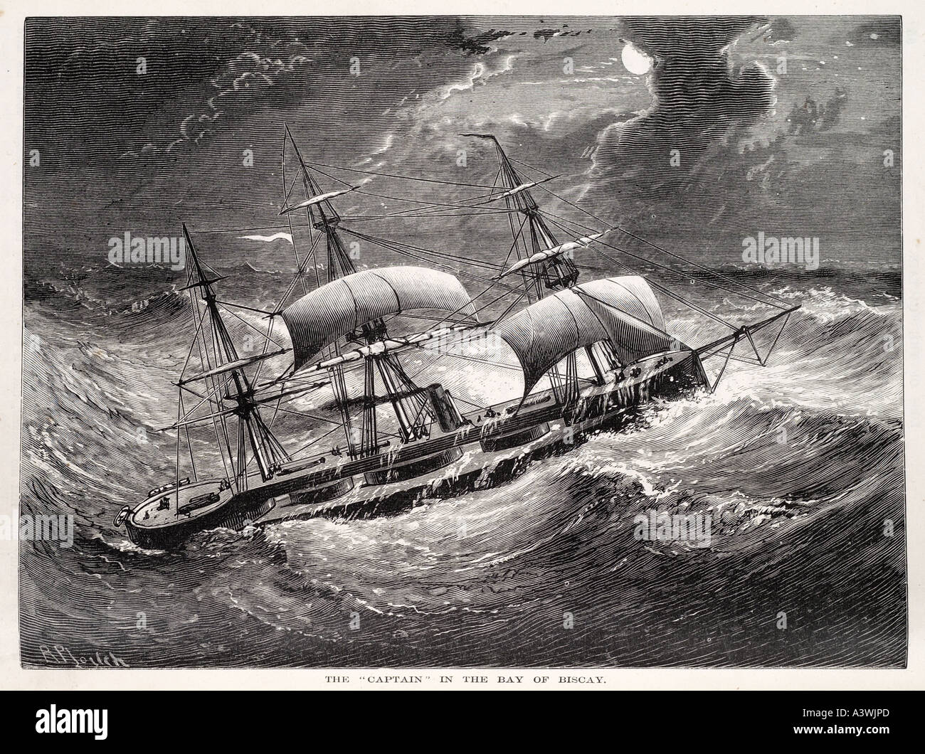 bay biscay Heavy weather France Atlantic Ocean sea  storm gale rough waves trough sail ship boat danger severe marine - Stock Image