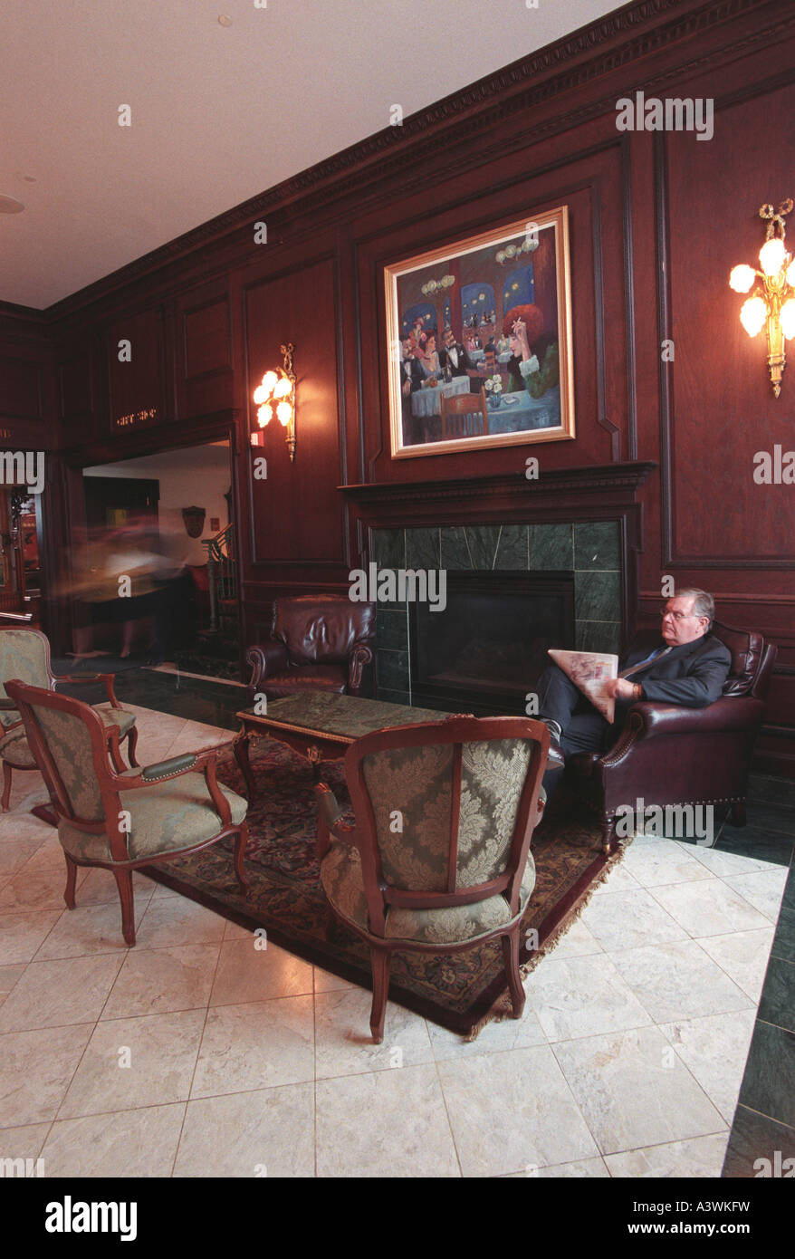 Landmark Inn lobby, Marquette Michigan - Stock Image
