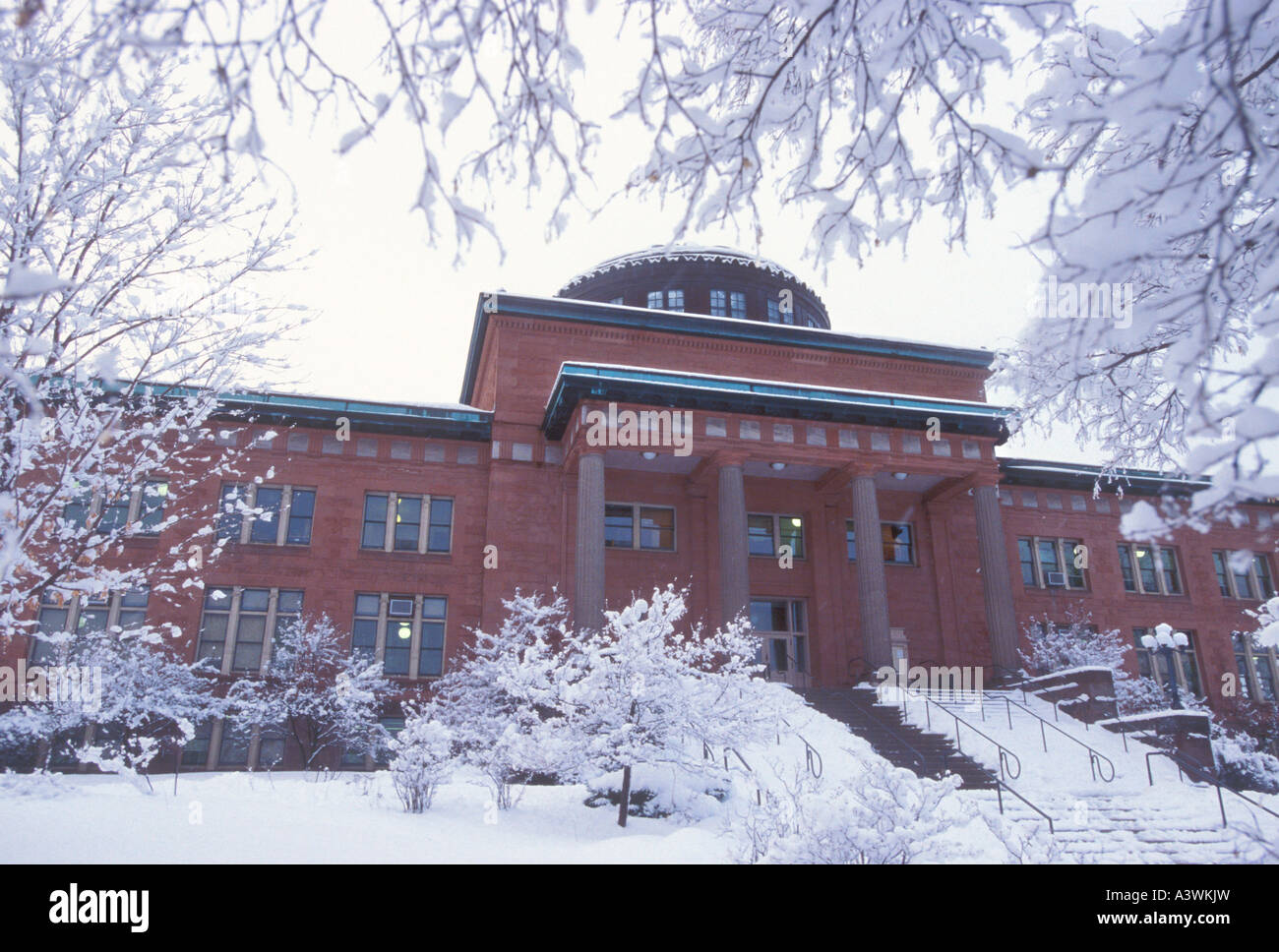 The Marquette County Courthouse is seen during a snow storm - Stock Image