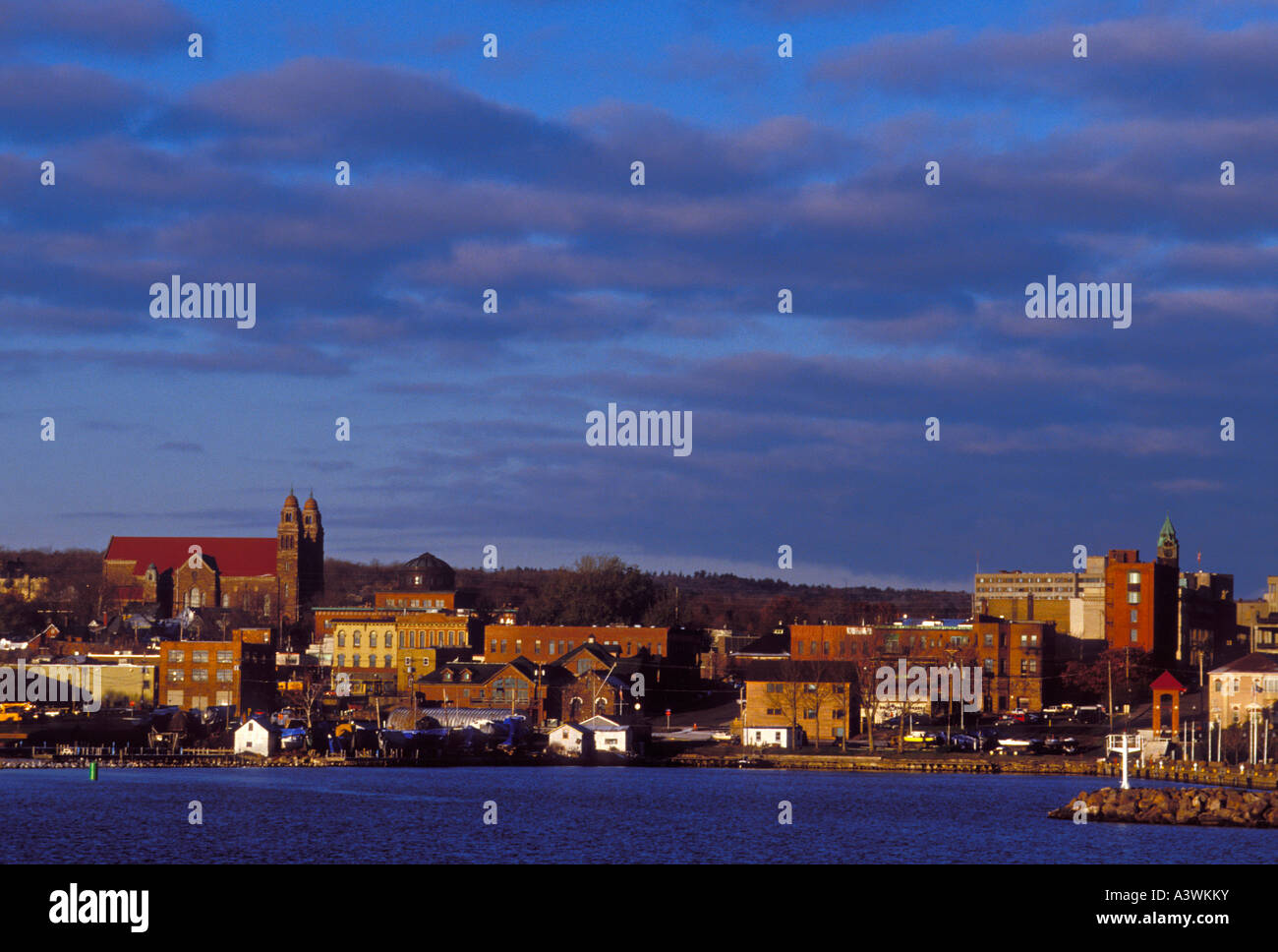 The waterfront of Marquette Mich at dawn - Stock Image