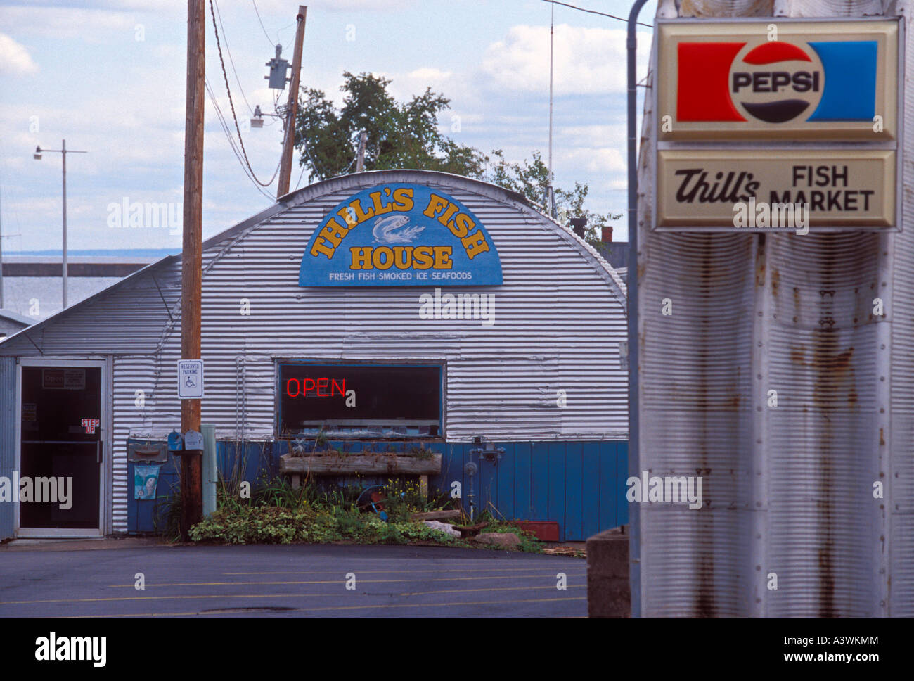 Thill s Fish House on the waterfront of Marquette Mich - Stock Image