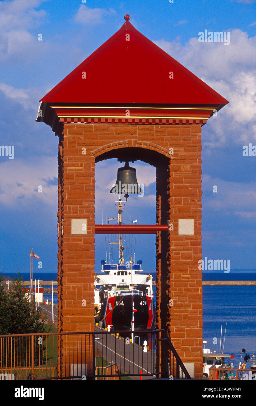 The U S Coast Guard buoy tender Sundew docks at the lower harbor sea wall in Marquette Mich - Stock Image