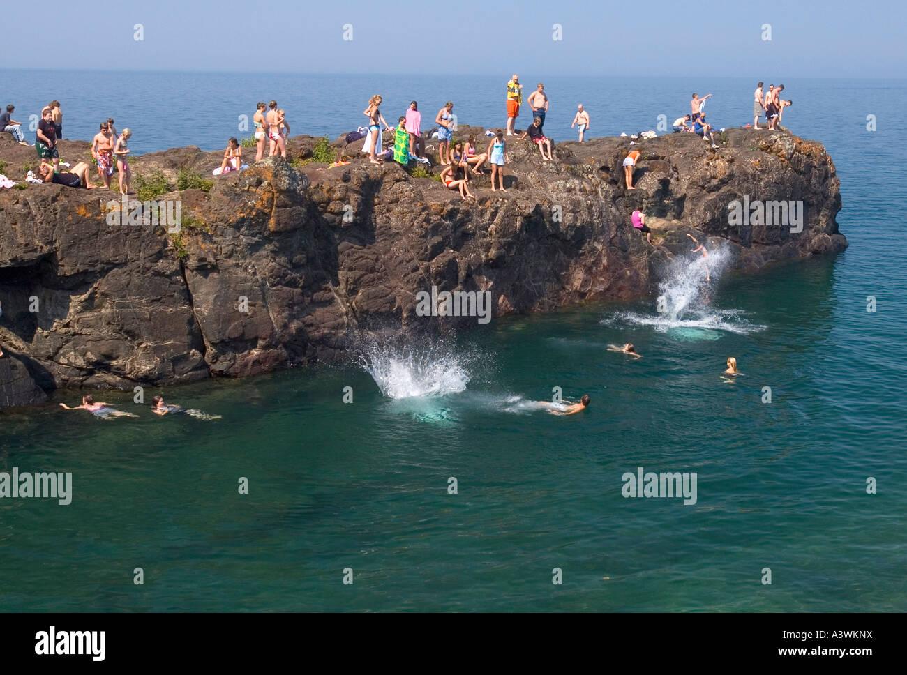 Swimming sunbathing on rocks at Lake Superior, Marquette, Michigan