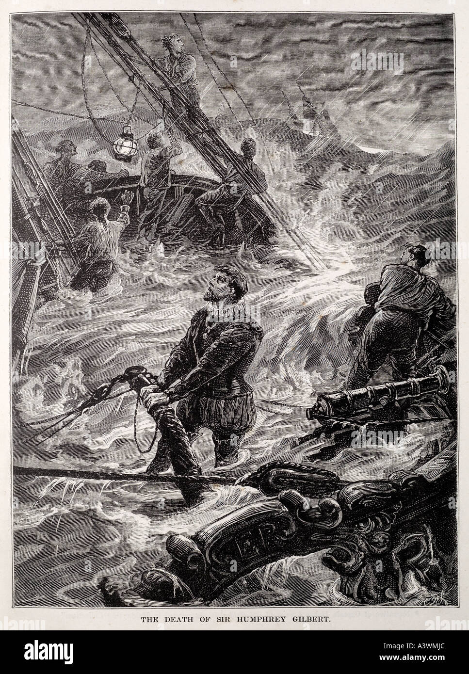 humphrey gilbert Sink go down with ship loss wreck flood founder storm tempest hold pray drown sail ship boat awash - Stock Image