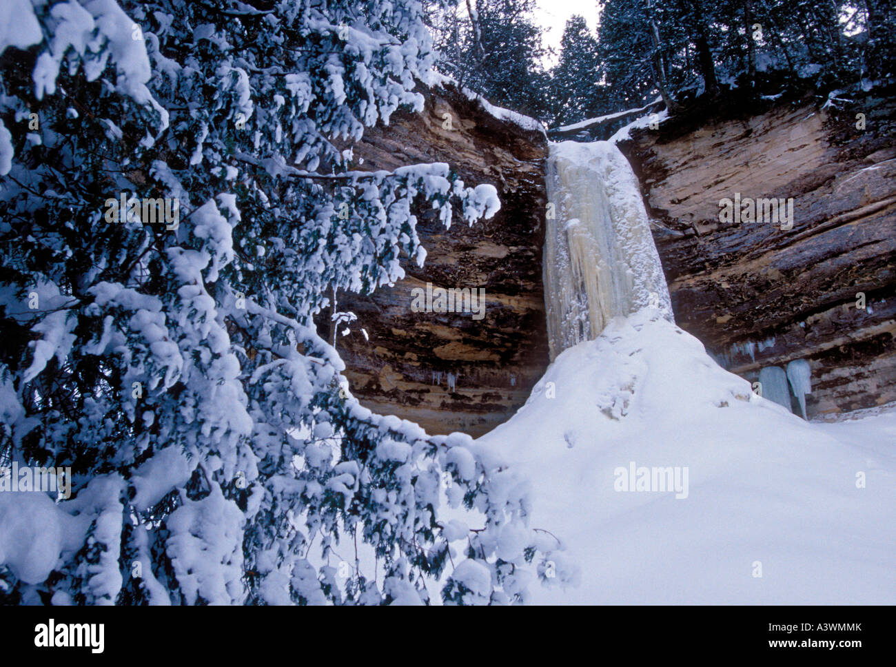 Frozen Munising Falls In Winter In Pictured Rocks National Lakeshore Stock Photo Alamy