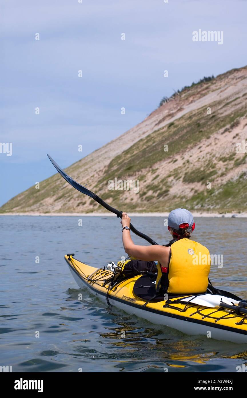 Sea kayaker, Lake Michigan, Sleeping Bear Dunes National Lakeshore, Traverse City, Michigan, South Manitou Island - Stock Image