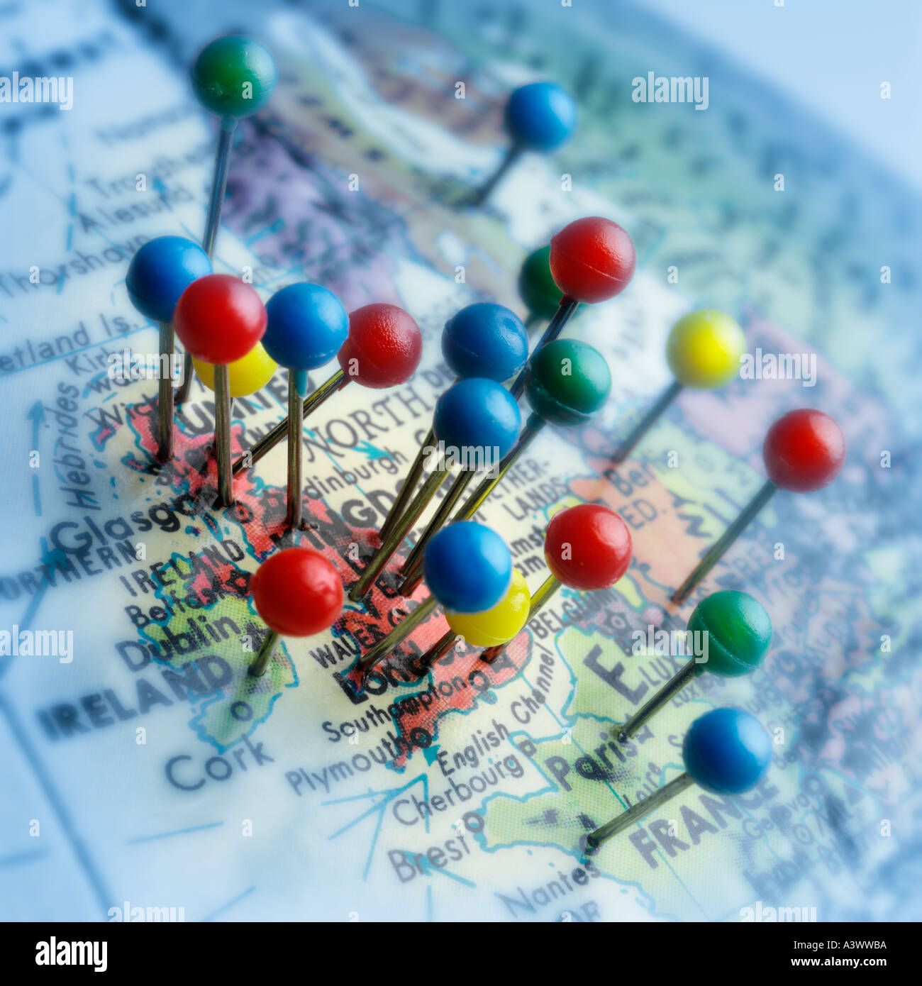 globe with concentrated map pins europe stock photo 3548601 alamy
