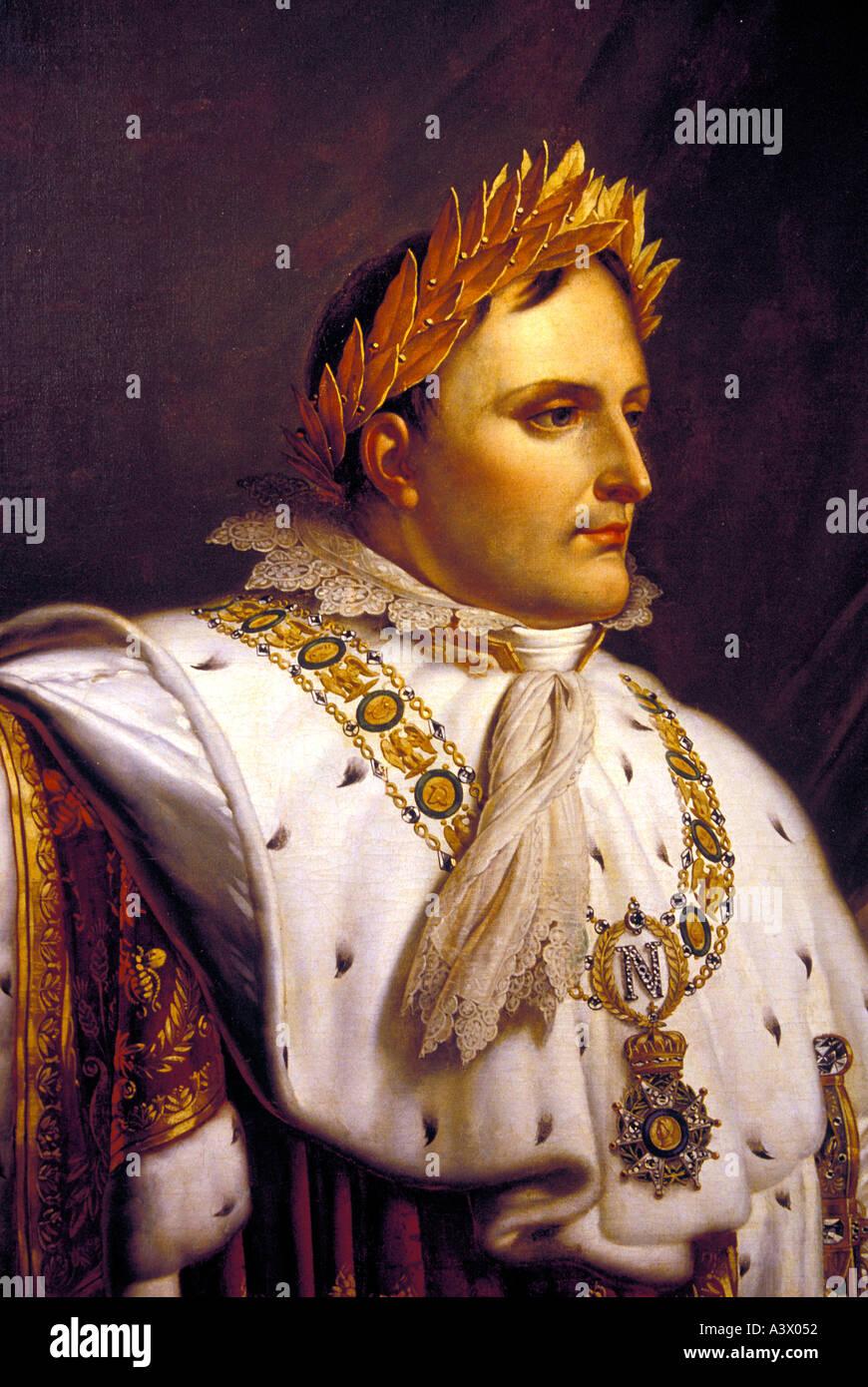 Napoleon Bonaparte portrait shown at Napoleon s house maison Bonaprte in his birth place city Ajaccio Corsica Island France - Stock Image