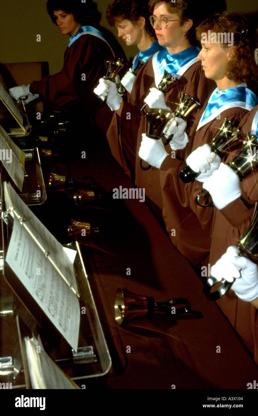 A church bell choir. Robbinsdale Minnesota USA - Stock Image