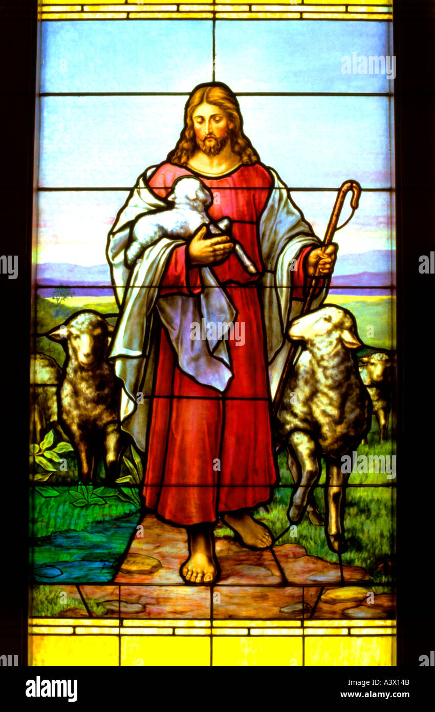 stained glass window of jesus the good shepherd carrying a