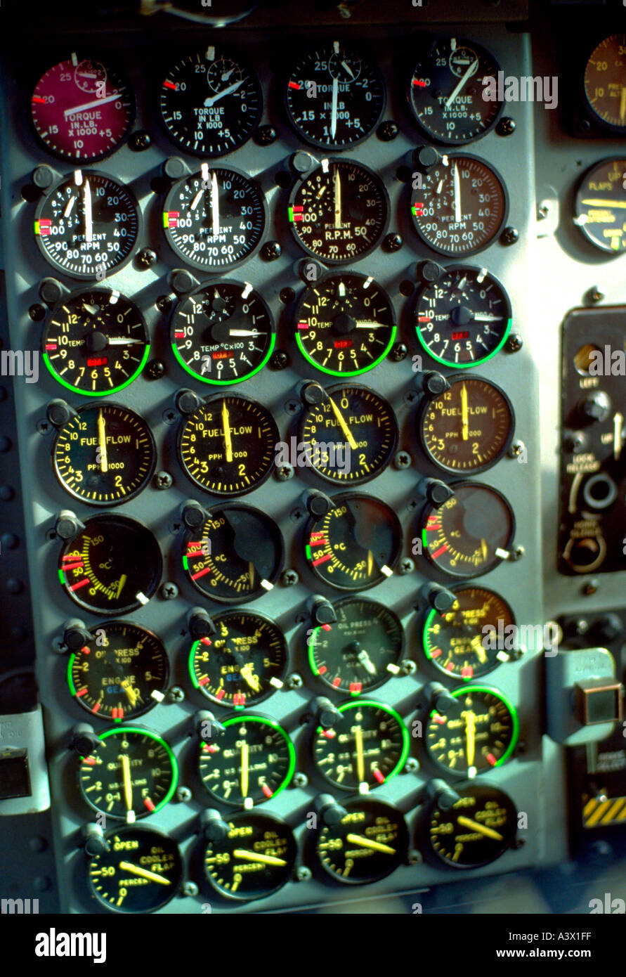 Airplane dials in cockpit at Holman Field air show. St Paul Minnesota MN USA - Stock Image
