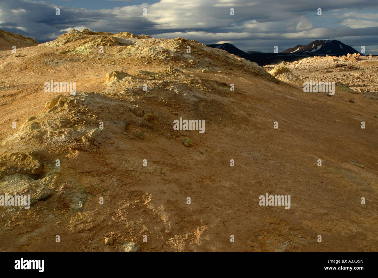 Geothermally active region near Myvatn in Iceland Sulphur rich rock formations and volcanically created hills and - Stock Image