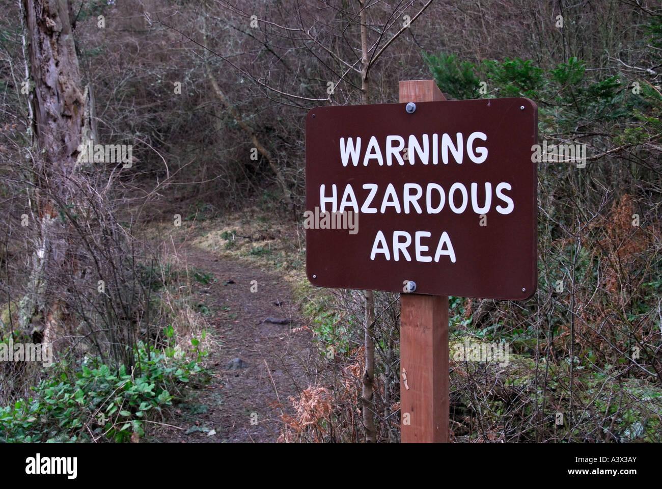 'Warning Hazardous Area sign, 'Washington state', USA' - Stock Image