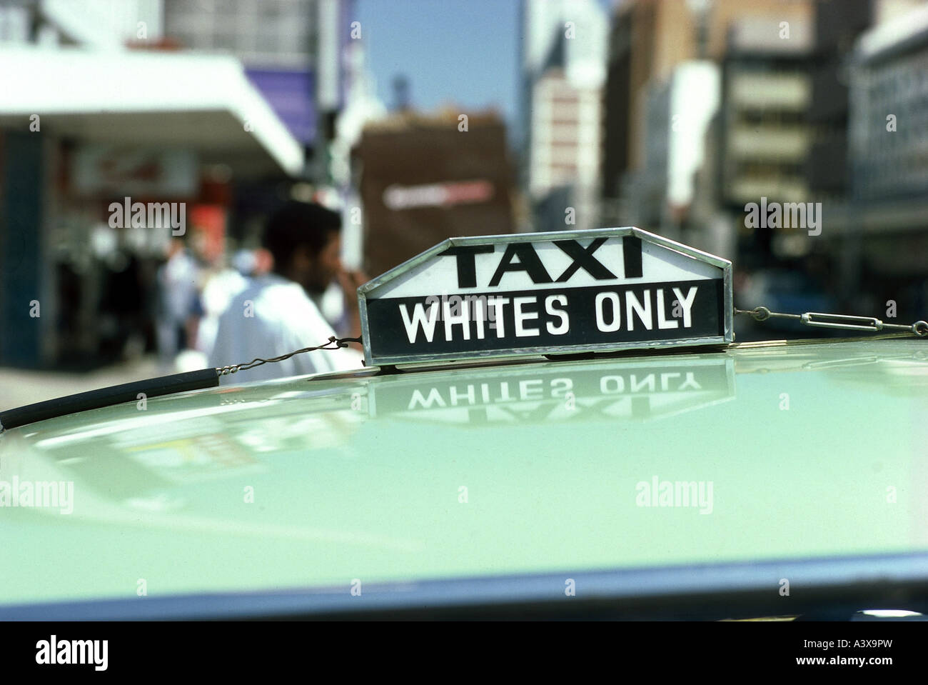 geography/travel, South Africa, politics, racial segregation, taxi sign 'Whites only', Pretoria, 1972, , - Stock Image