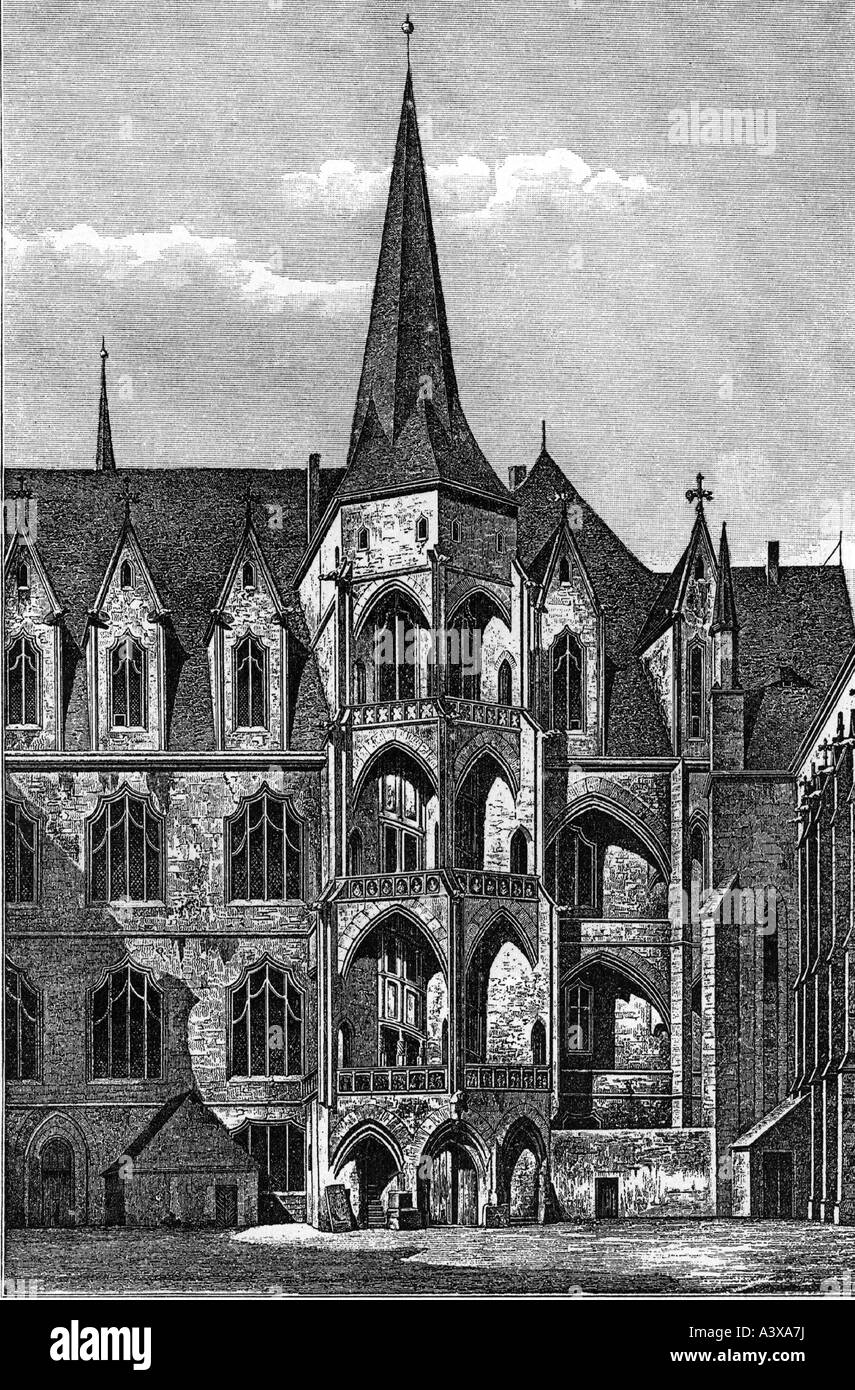 geography / travel, Germany, Meissen, Albrechstburg, engraving, detail, courtside, after Förster, historic, - Stock Image