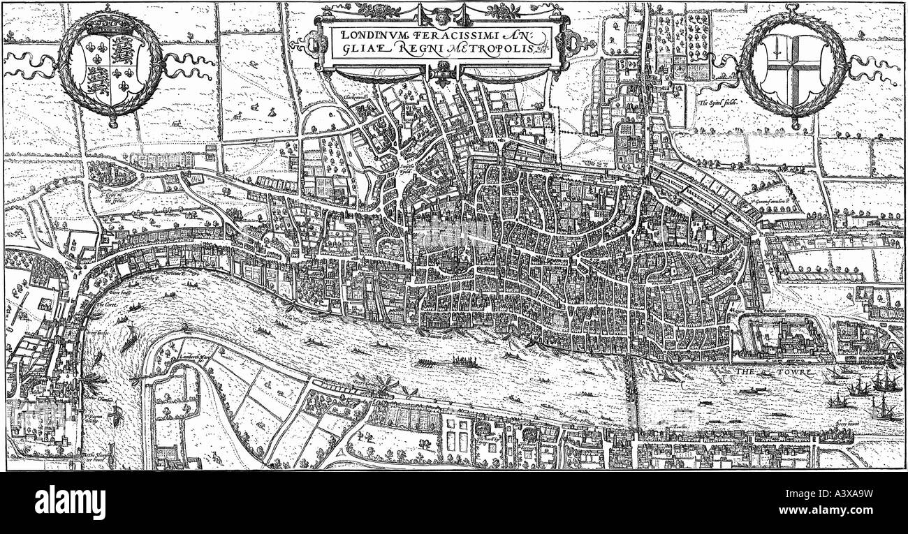 geography / travel, Great Britain, London, city map, engraving, 1575, Additional-Rights-Clearances-NA - Stock Image