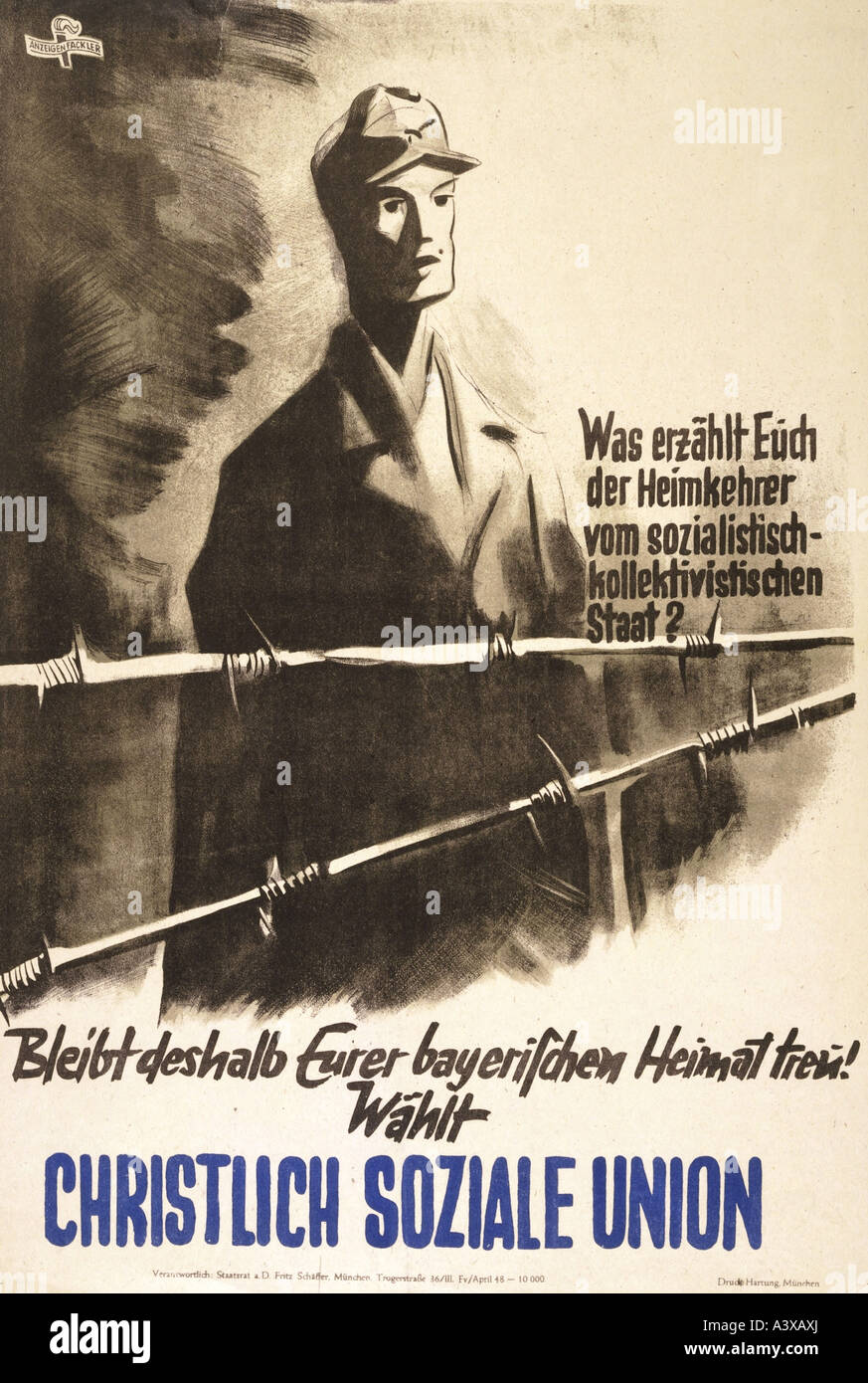 """geography/travel, Germany, politics, """"Wählt Christlich Soziale Union"""", Munich, 1948, poster, design by Anzeigen Stock Photo"""