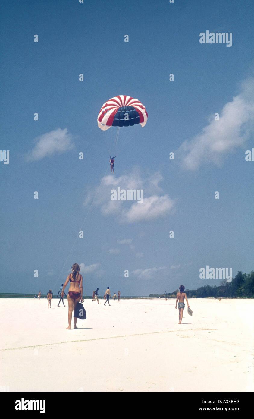 Parasailing on Diani Beach Kenya coast East Africa - Stock Image