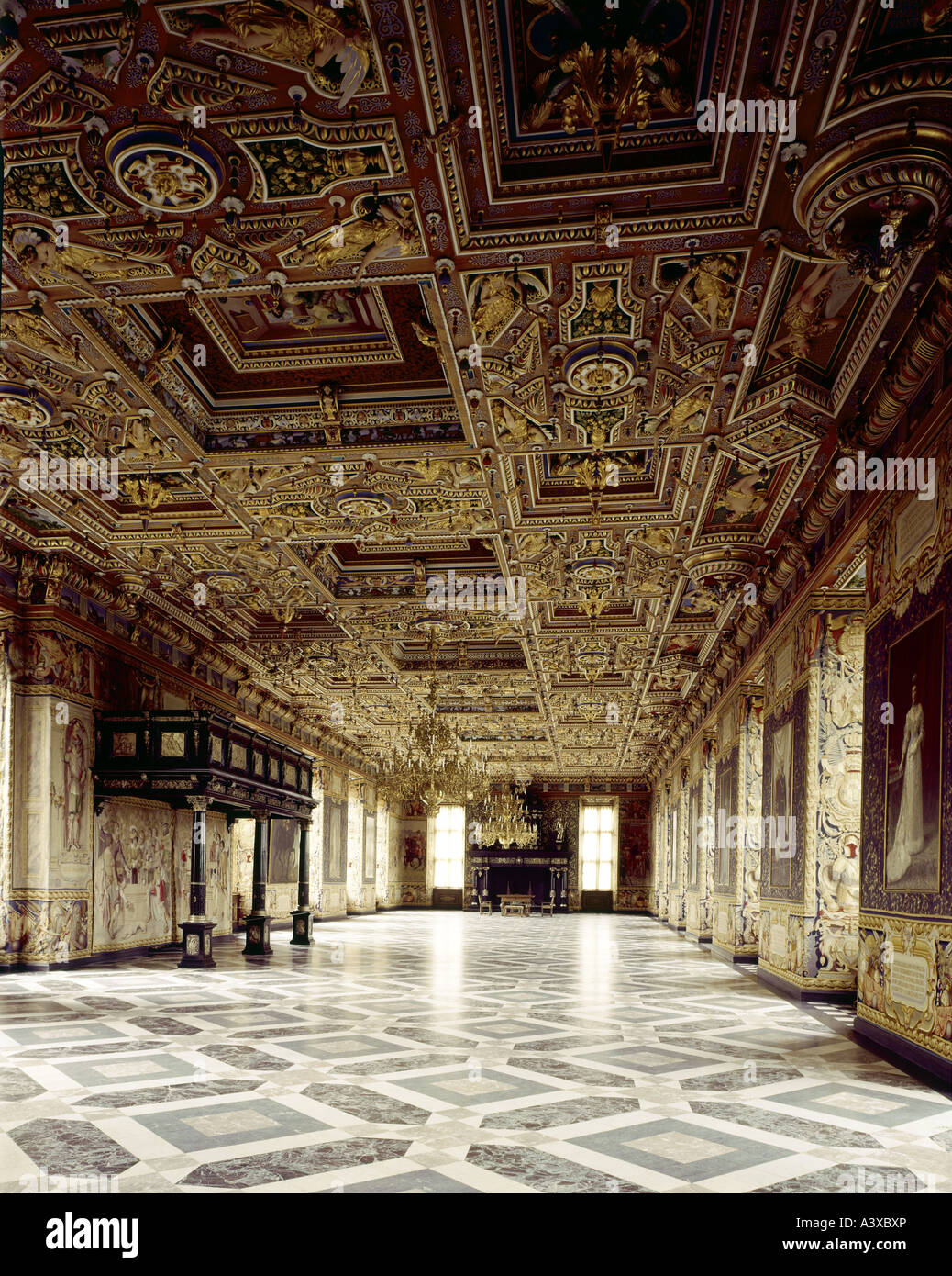 geography/travel, Denmark, Hilleroed, buildings, Frederiksborg castle, interior view, Knights hall, 1580 - 1620, - Stock Image