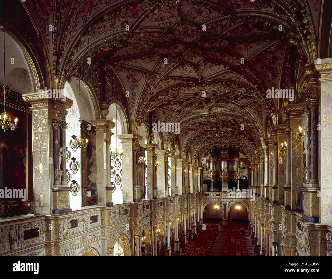 geography/travel, Denmark, Hilleroed, buildings, Frederiksborg castle, castle church, interior view, view from gallery, - Stock Image