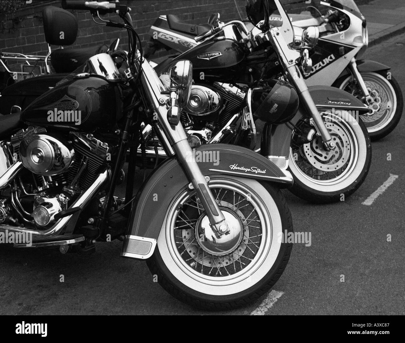 Harley-Davidson motorbikes parked in Madeira Drive on Brighton sea front Stock Photo